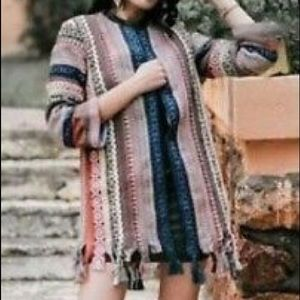Zara Embroidered Striped Ethnic Kimono Jacket